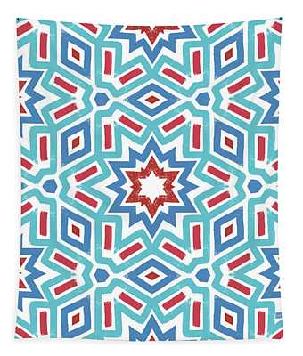 Red White And Blue Fireworks Pattern- Art By Linda Woods Tapestry