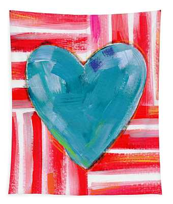 Red White And Blue Love- Art By Linda Woods Tapestry