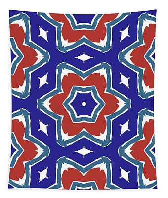 Red White And Blue Star Flowers 1- Pattern Art By Linda Woods Tapestry