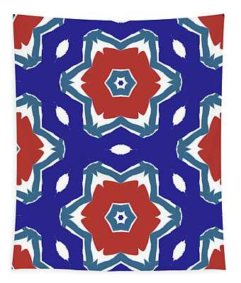 Red White And Blue Star Flowers 2 - Pattern Art By Linda Woods Tapestry
