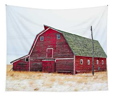 Red Winter Barn Tapestry