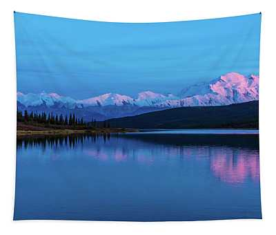 Sunset Reflections Of Denali In Wonder Lake Tapestry