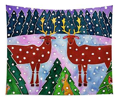 Reindeer And Rabbits Tapestry