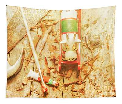 Reindeer With Tools And Wood Shavings Tapestry