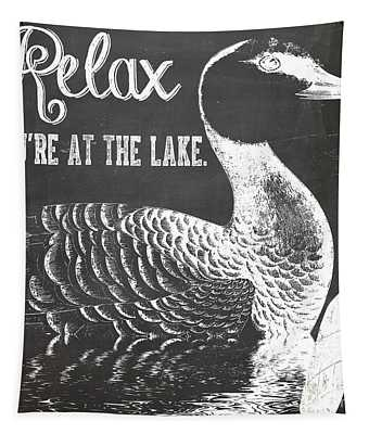 Relax Lake House Duck Sign Tapestry