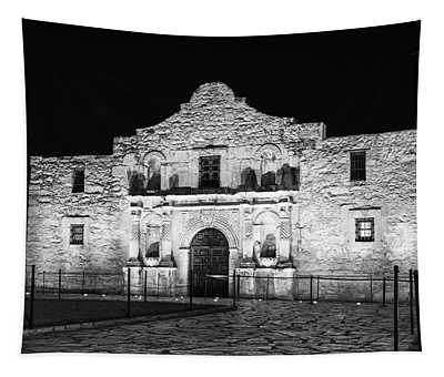 Remembering The Alamo - Black And White Tapestry