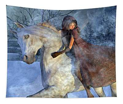 Renaissance Snowy Christmas Eve Tapestry