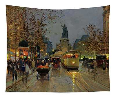 Republic Square At Night Tapestry