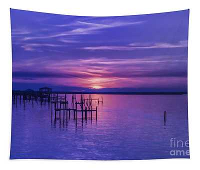 Rest Well World Purple Sunset Tapestry