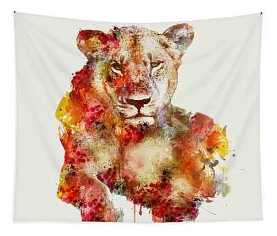 Resting Lioness In Watercolor Tapestry