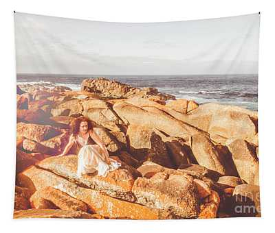 Resting On A Cliff Near The Ocean Tapestry