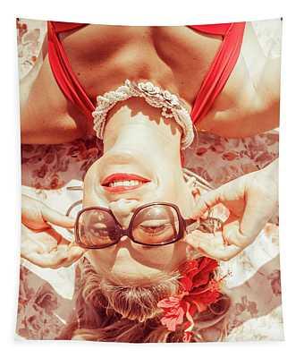 Retro 50s Beach Pinup Girl Tapestry
