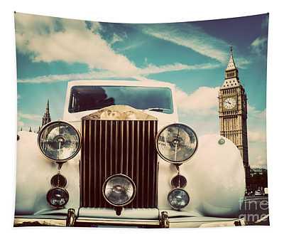 Retro Car, Limousine Next To Big Ben, London, The Uk Tapestry