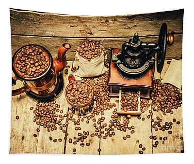 Retro Coffee Bean Mill Tapestry