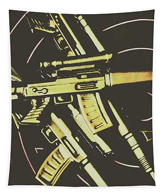 Retro Guns And Targets Tapestry