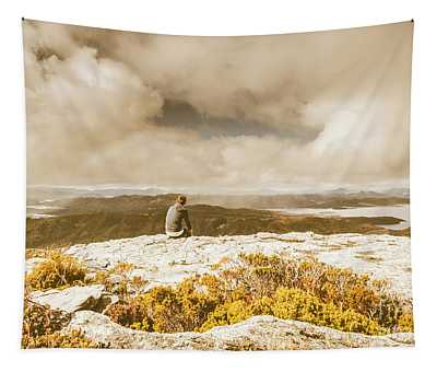 Retro Mountaintop Views Tapestry