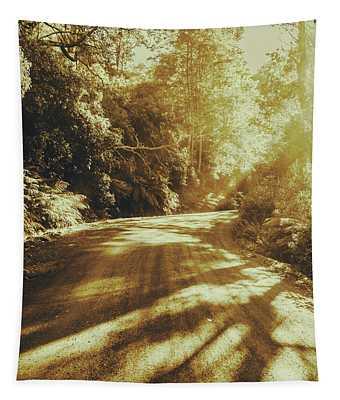 Retro Rainforest Road Tapestry