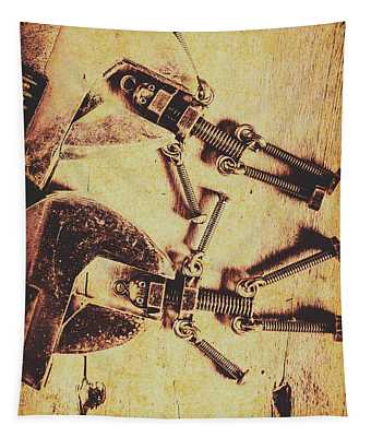 Retro Robot Revival Tapestry