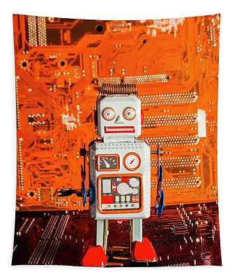 Retro Robotic Nostalgia Tapestry
