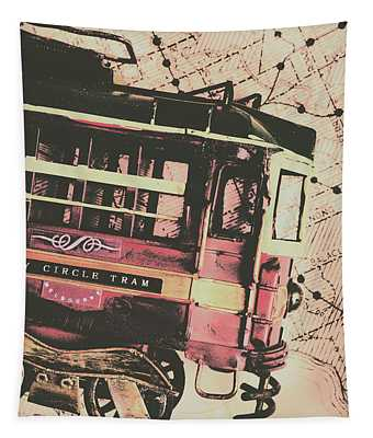 Retro Streets And Urban Trams Tapestry