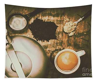 Retro Tea Background Tapestry
