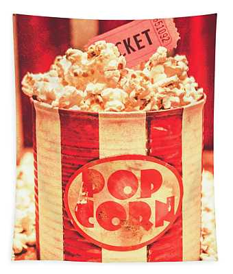 Retro Tub Of Butter Popcorn And Ticket Stub Tapestry