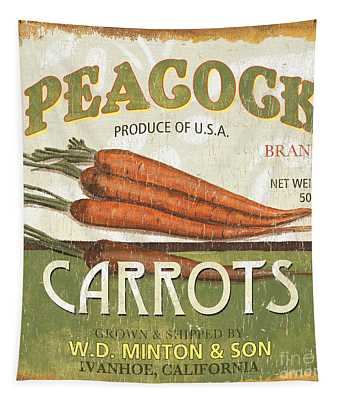 Retro Veggie Label 2 Tapestry