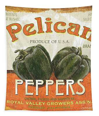 Retro Veggie Labels 3 Tapestry