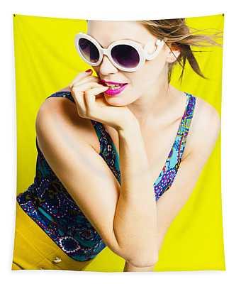 Retro Yellow Fashion Portrait  Tapestry