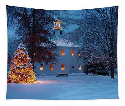 Richmond Vermont Round Church At Christmas Tapestry