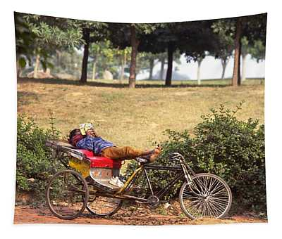 Photograph - Rickshaw Rider Relaxing by Travel Pics