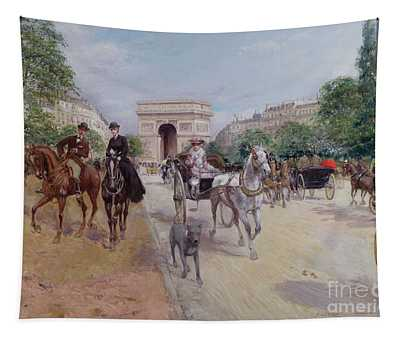 Riders And Carriages On The Avenue Du Bois Tapestry