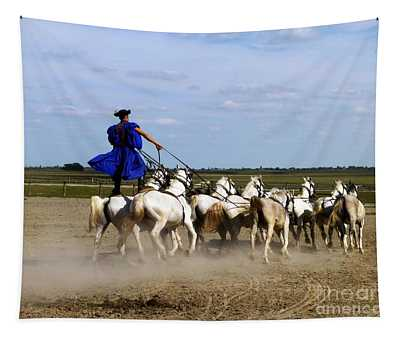 Riding 10 Horses Tapestry