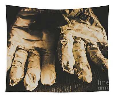 Rising Mummy Hands In Bandage Tapestry