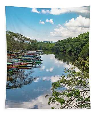 River Boats Docked In Negril, Jamaica Tapestry