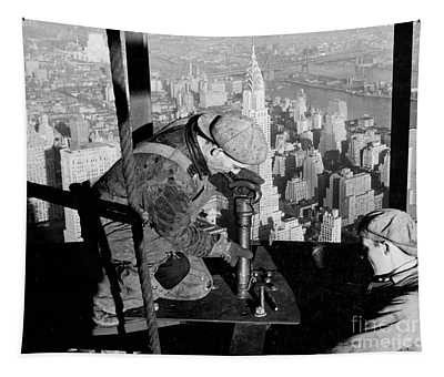 Riveters On The Empire State Building Tapestry