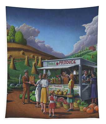Roadside Produce Stand - Fresh Produce - Vegetables - Appalachian Vegetable Stand - Square Format Tapestry