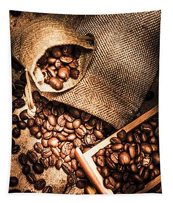 Roasted Coffee Beans In Drawer And Bags On Table Tapestry