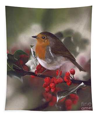 Robin And Berries Tapestry