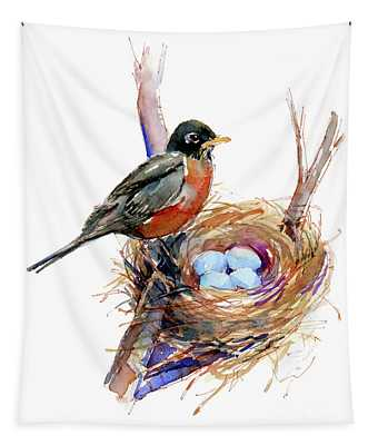 Robin With Nest Tapestry