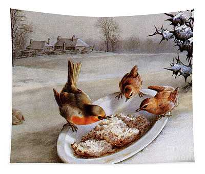 Robins And Wrens  Winter Breakfast Tapestry