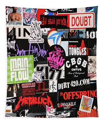 Rock And Roll Stickers Tapestry