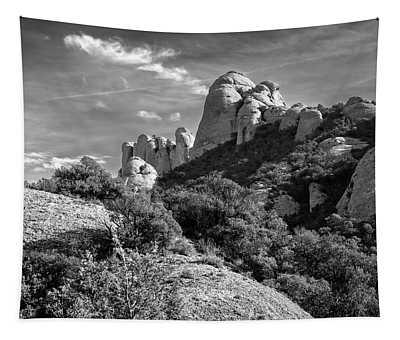 Rock Formations Montserrat Spain II Bw Tapestry