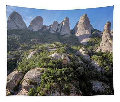 Rock Formations Montserrat Spain Tapestry