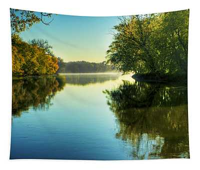 Rock River Autumn Morning Tapestry