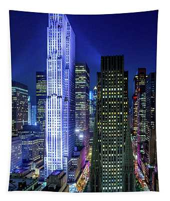 Rockefeller At Night Tapestry