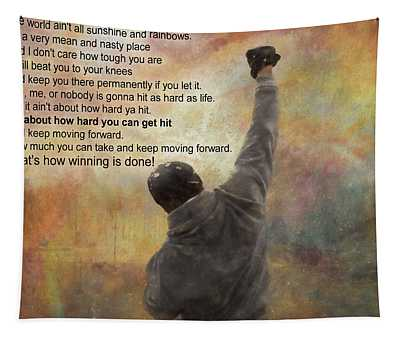 Rocky Balboa Inspirational Quote Tapestry