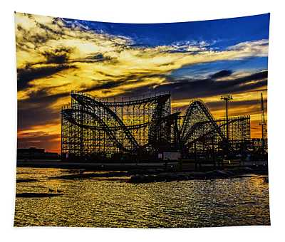 Roller Coaster Sunset Tapestry