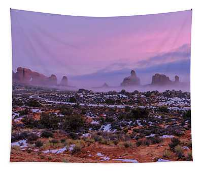 Rolling Mist Through Arches Tapestry