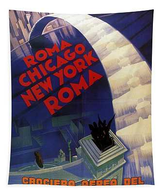Roma, Chicago, New York - Vintage Illustrated Poster Tapestry